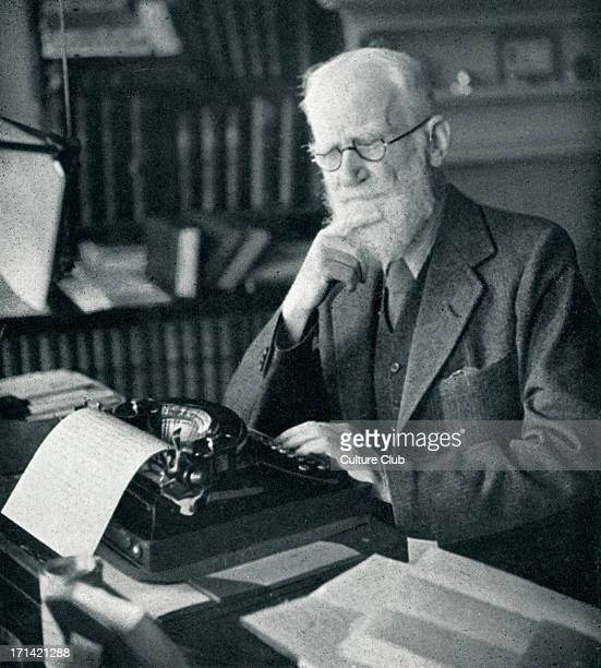 George Bernard Shaw portrait of the Irish dramatist critic and Nobel Prize winner typing at his desk 26 July 1856 2 November 1950