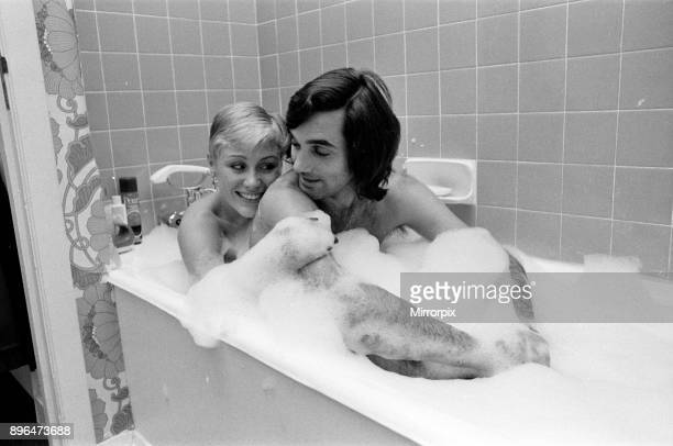 George Best and his girlfriend Angela Macdonald James pictured at the London home of George Best 23rd September 1976