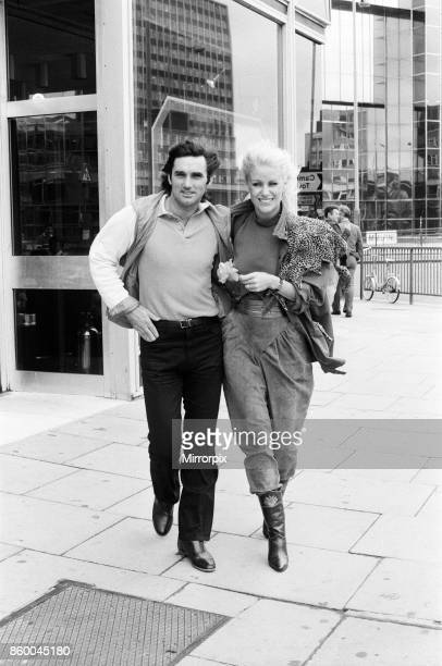 """George Best and his wife Angie in London to promote George's new autobiography """"Where Do I Go From Here?"""", 17th September 1981."""