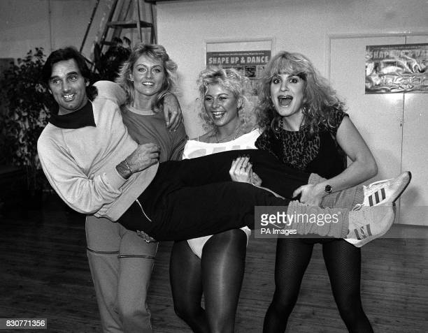 George Best carried by his girlfriend former Miss World Mary Stavin Suzanne Dando and Bcks Fizz singer Jay Aston at the launch of their Shape Up and...