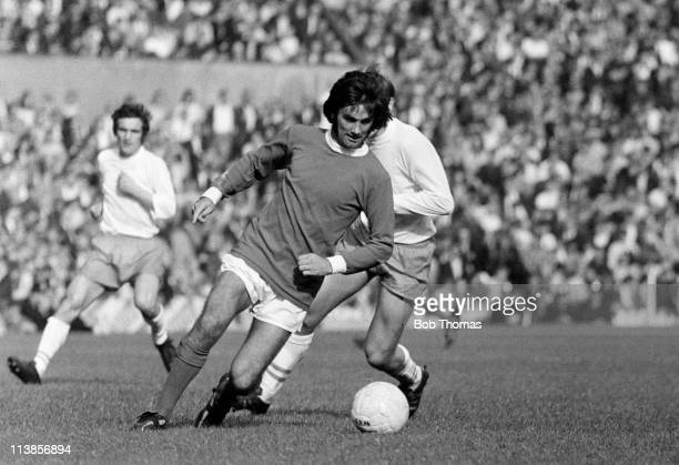 George Best in action for Manchester United against Blackpool at Old Trafford in Manchester circa 1971