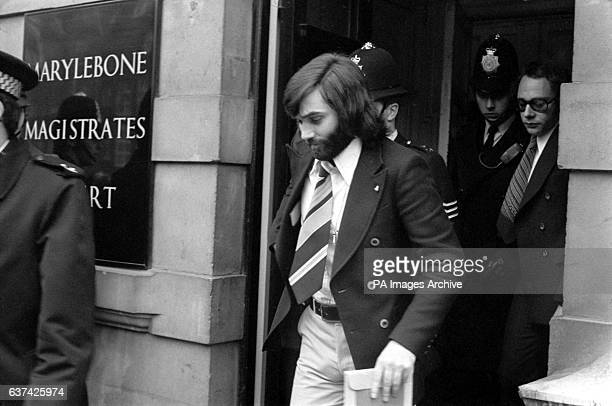 George Best leaves Marylebone Court after being remanded on bail in connection with the theft of parcels and a fur coat from exgirlfriend and Miss...