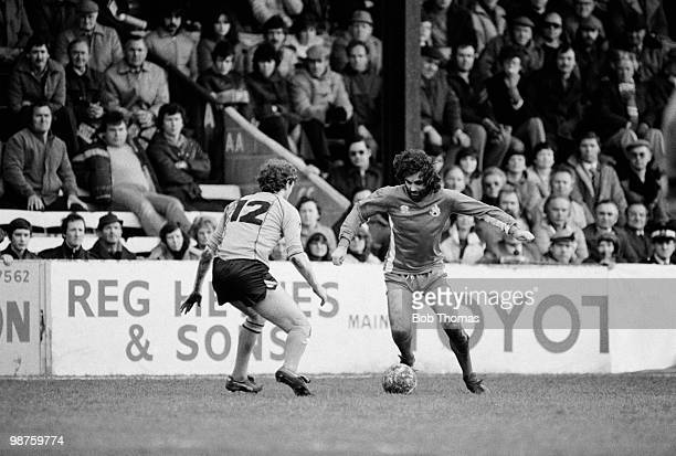 George Best of Bournemouth takes on Newport County substitute Carl Elsey during their Division Three League match held at Dean Court Bournemouth on...