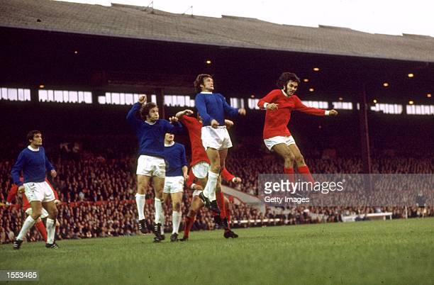 George Best of Manchester United in action during the Division One match against Everton played at Old Trafford in Manchester England Mandatory...