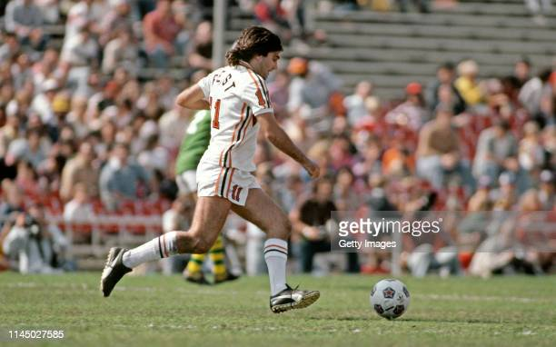 George Best of the LA Aztecs in action during the NASL League match between the New York Cosmos and LA Aztecs held in 1978 in New York, USA.