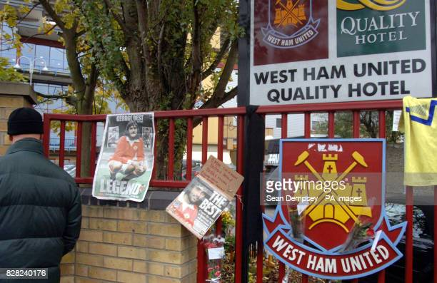 George Best posters hang outside Upton Park before the Barclays Premiership match between West Ham United and Manchester United Sunday November 27...