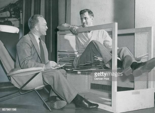 George Bethune sitting in a contraption which designers use to gauge comfortable positions for the human contour voices his reactions on his...