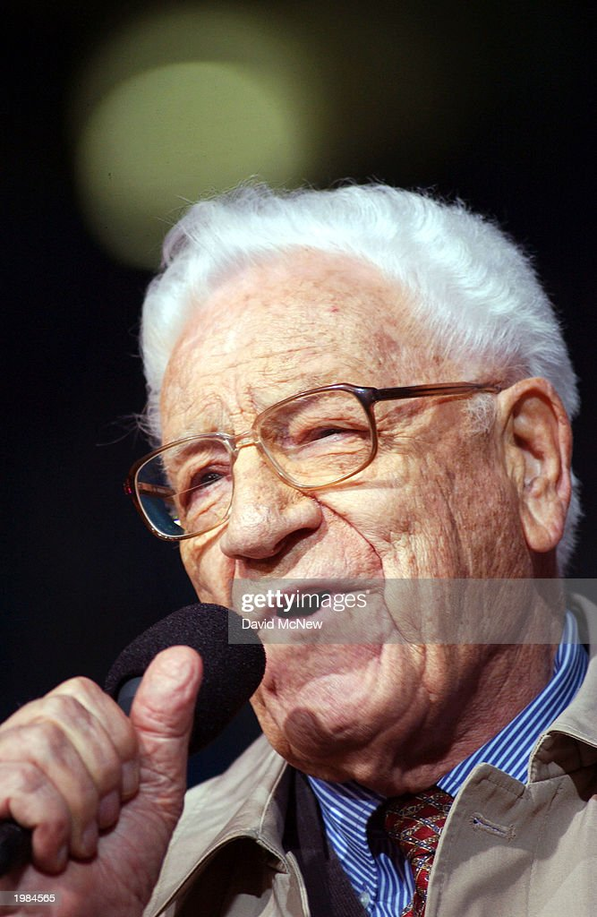 George Beverly Shea sings 'How Great Thou Art' for the last mission to California for America's best known evangelist, 84-year-old Billy Graham, on May 8, 2003 to San Diego, California. Some 54,000 people attended tonight's service which is expected to total 200,000 over the four-night event as thousands convert to Christianity.