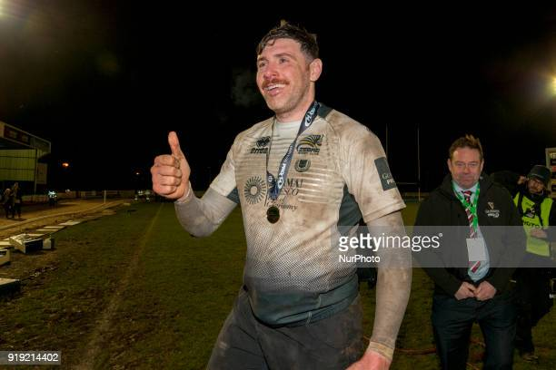 George Biagi of Zebre celebrates after the Guinness PRO14 Round 15 match between Connacht Rugby and Zebre Rugby at the Sportsground in Galway Ireland...
