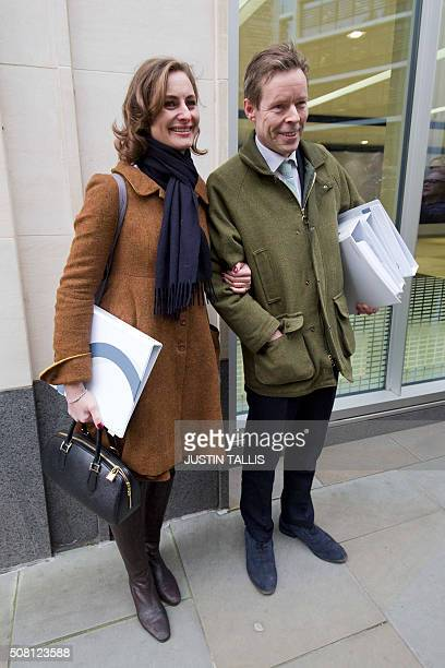 George Bingham the only son of the infamous British aristocrat Lord Lucan and his wife AnneSofie Foghsgaard leave the High Court in central London on...