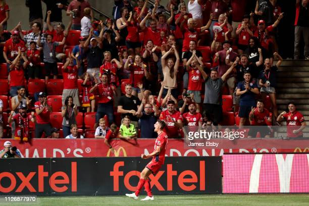 George Blackwood of Adelaide United celebrates a goal during the round 17 ALeague match between Adelaide United and the Brisbane Roar at Coopers...