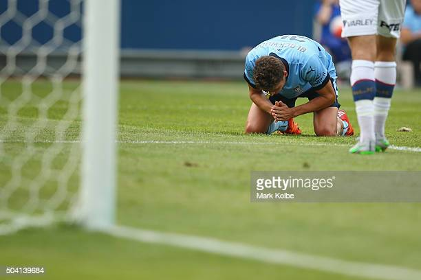 George Blackwood of Sydney FC reacts after a missed on goal during the round 14 ALeague match between Sydney FC and the Newcastle Jets at ANZ Stadium...