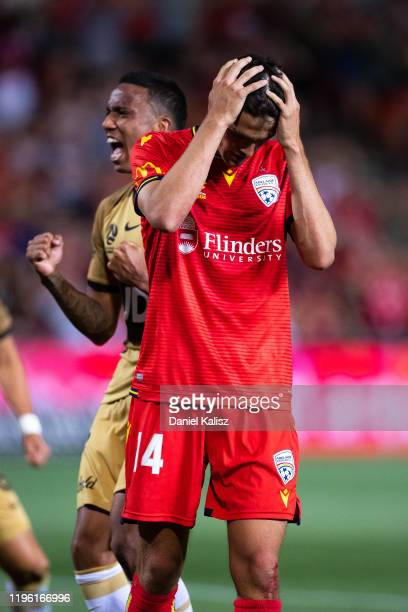 George Blackwood of United reacts after missing a penalty kick during the round 12 A-League match between Adelaide United and the Western Sydney...