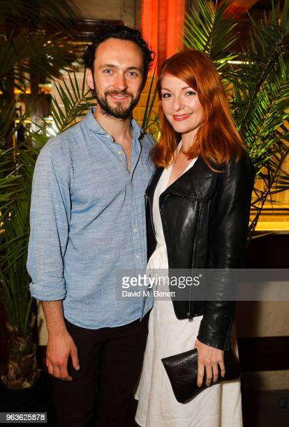 George Blagden and Laura PittPulford attend the press night after party for 'Tartuffe ' at Savini at Criterion on May 29 2018 in London England