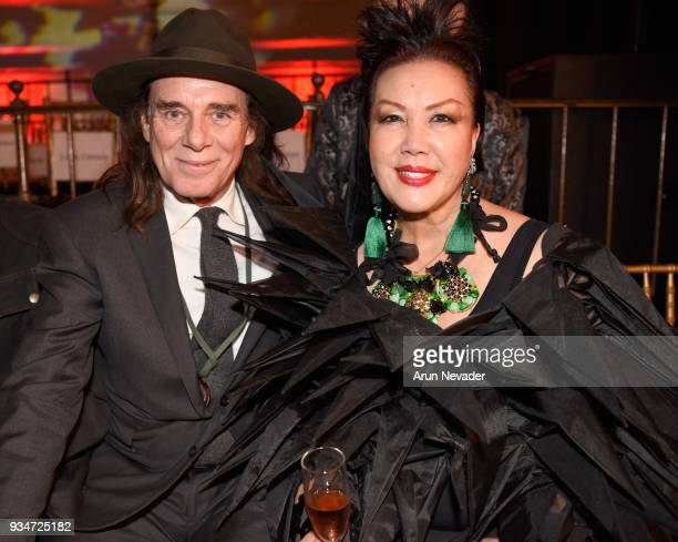 George Blodwell and Sue Wong attend Los Angeles Fashion Week Powered by Art Hearts Fashion LAFW FW/18 10th Season Anniversary Backstage and Front Row...