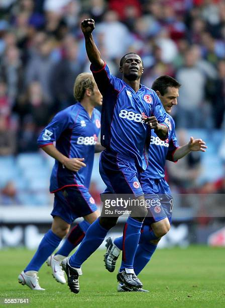 George Boateng celebrates after scoring Middlesbrough's second goal during the Barclays Premiership match between Aston Villa and Middlesbrough at...