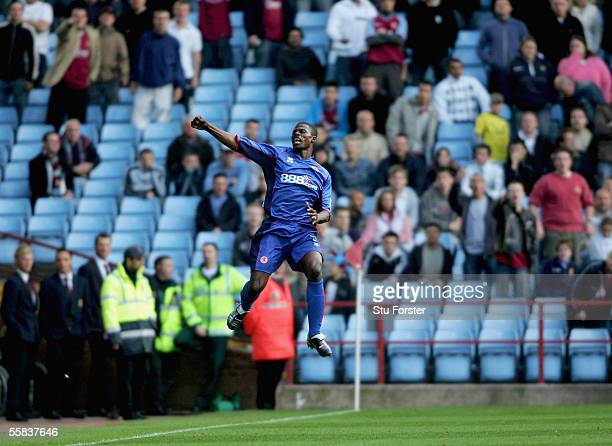 George Boateng celebrates infront of empty seats after scoring Middlesbrough's second goal during the Barclays Premiership match between Aston Villa...