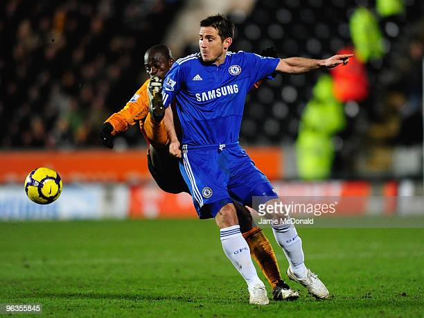 George Boateng of Hull City battles for the ball with Frank Lampard of Chelsea during the Barclays Premier League match between Hull City and Chelsea...