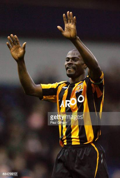 George Boateng of Hull City celebrates in front of the fans after winning 30 in the Barclays Premier League match between West Bromwich Albion and...