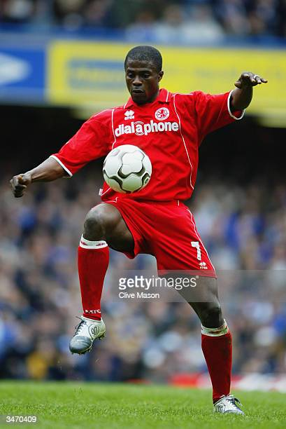 George Boateng of Middlesbrough attempts to control the ball during the FA Barclaycard Premiership match between Chelsea and Middlesbrough on April...