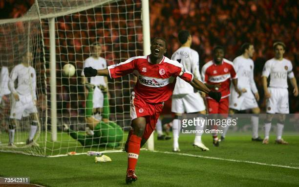 George Boateng of Middlesbrough celebrates scoring his team's second goal during the FA Cup sponsored by EON Quarter Final match between...