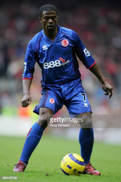 George Boateng of Middlesbrough in action during the Barclays Premiership match between Liverpool and Middlesbrough at Anfield on December 10 2005 in...