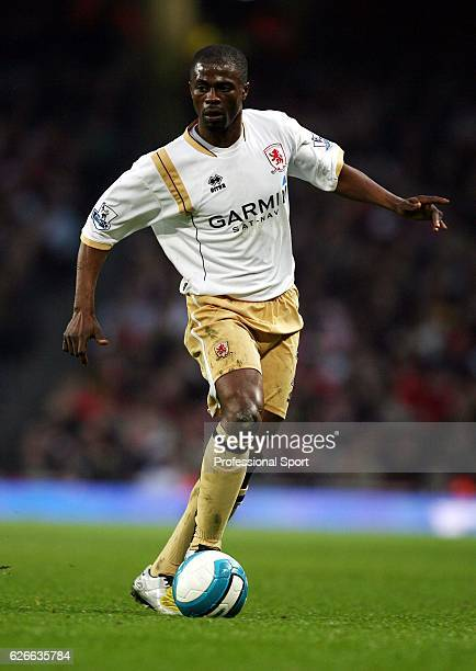 George Boateng of Middlesbrough in action during the Barclays Premier League match between Arsenal and Middlesbrough held at the Emirates Stadium on...