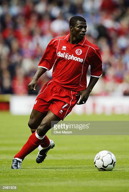 George Boateng of Middlesbrough turns with the ball during the FA Barclaycard Premiership match between Middlesbrough and Leeds on August 30 2003 at...