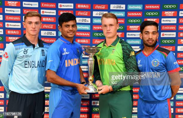 George Bolderson of England, Priyam Garg of India, Bryce Parsons of South Africa and Farhaan Zakhiel of Afghanistan during a press conference prior...
