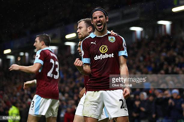 George Boyd of Burnley celebrates scoring his sides third goal during the Premier League match between Burnley and AFC Bournemouth at Turf Moor on...