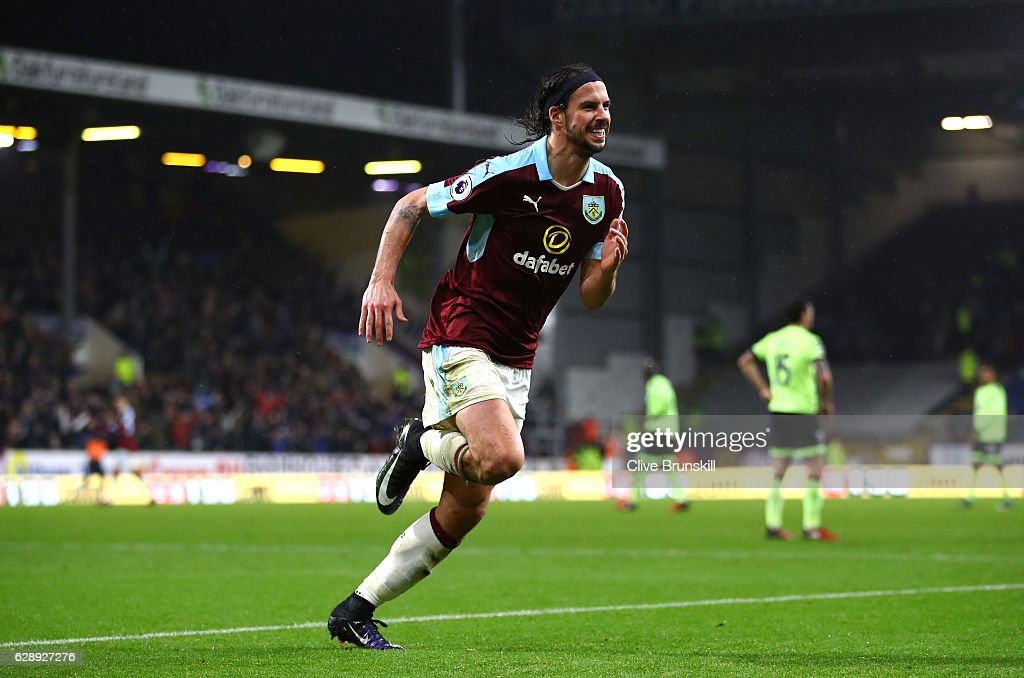 George Boyd of Burnley celebrates scoring his sides third goal during the Premier League match between Burnley and AFC Bournemouth at Turf Moor on December 10, 2016 in Burnley, England.