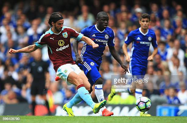 George Boyd of Burnley shoots during the Premier League match between Chelsea and Burnley at Stamford Bridge on August 27 2016 in London England