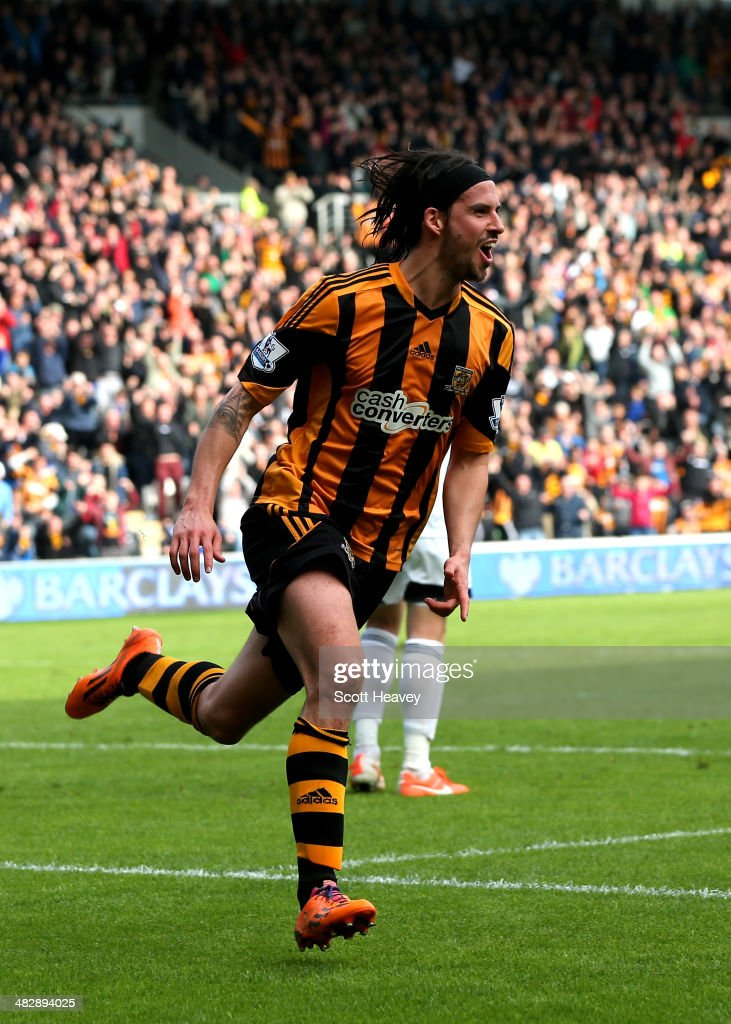George Boyd of Hull City celebrates after scoring the opening goal with a header during the Barclays Premier league match between Hull City and Swansea City at KC Stadium on April 5, 2014 in Hull, England.