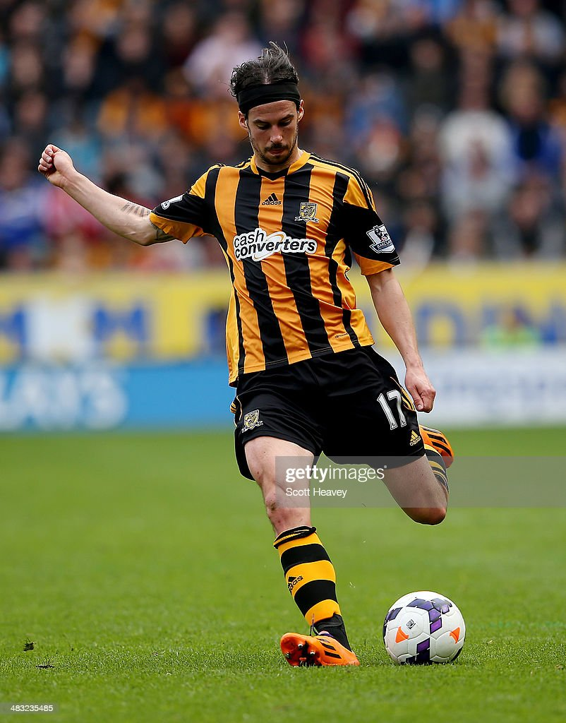 George Boyd of Hull City during the Barclays Premier League match between Hull City and Swansea City at KC Stadium on April 5, 2014 in Hull, England.