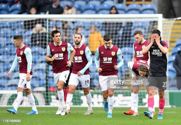 George Boyd of Peterborough United reacts after Burnley's third goal during the FA Cup Third Round match between Burnley FC and Peterborough United...