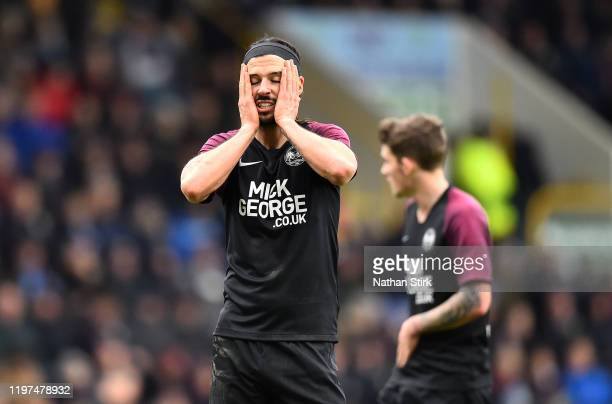 George Boyd of Peterborough United reacts during the FA Cup Third Round match between Burnley FC and Peterborough United at Turf Moor on January 04,...