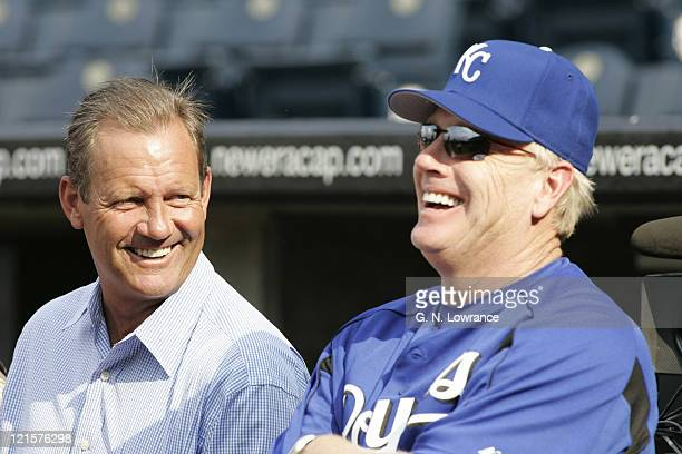 George Brett jokes with new Royals manager Buddy Bell before the game against the New York Yankees in Kansas City on May 31 2005