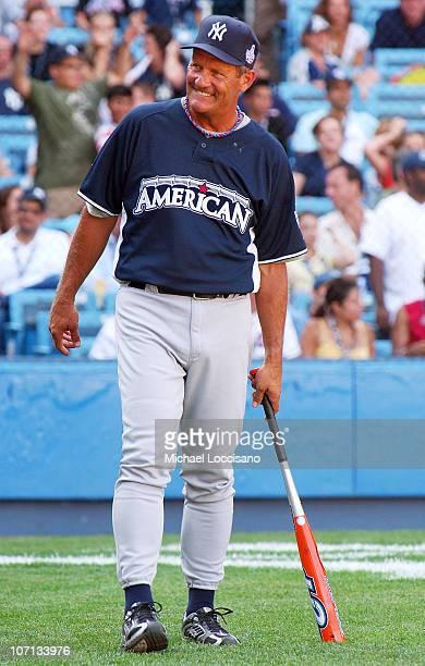 George Brett looks on during the 2008 MLB AllStar Week Taco Bell AllStar Legends Celebrity Softball Game at Yankee Stadium on July 13 2008 in New...