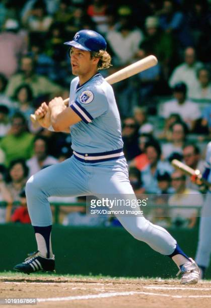 George Brett of the Kansas City Royals at bat during a game from his 1975 season with the Kansas City Royals George Brett played for 21 years all...