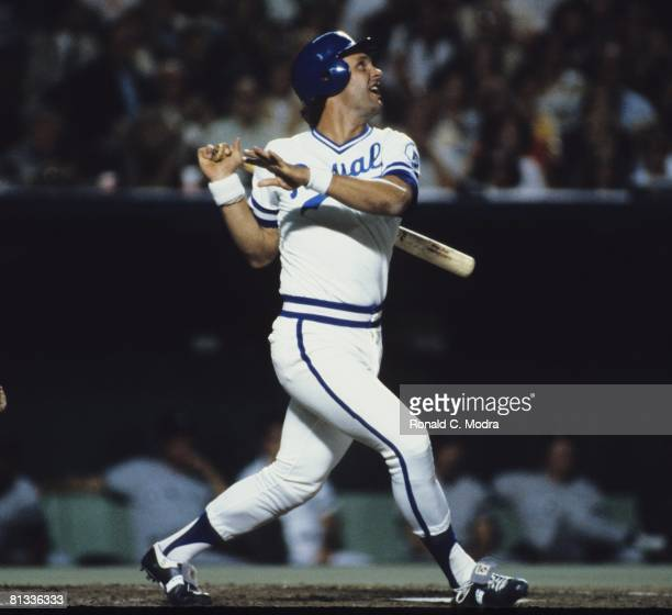 George Brett of the Kansas City Royals bats during a MLB game in October 1980 in Kansas City Missouri