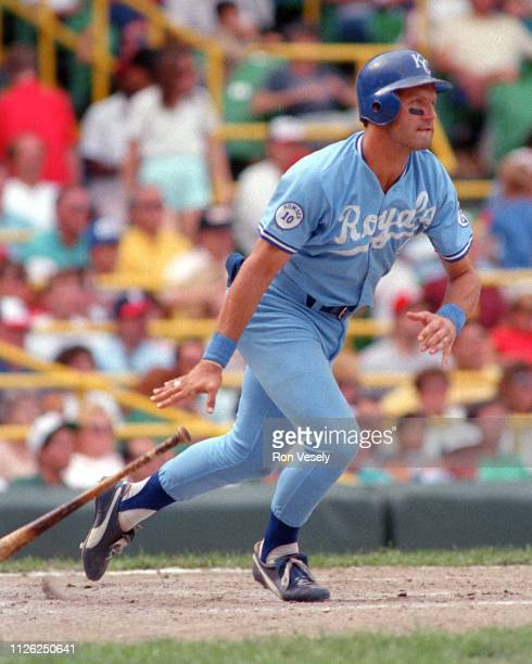 George Brett of the Kansas City Royals bats during an MLB game at Comiskey Park in Chicago Illinois Brett played for the Kansas City Royals from...