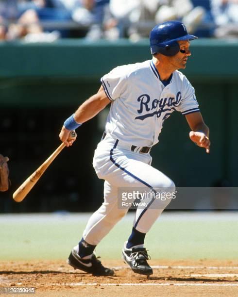 George Brett of the Kansas City Royals bats during an MLB game at Kauffman Stadium in Kansas City Missouri Brett played for the Kansas City Royals...