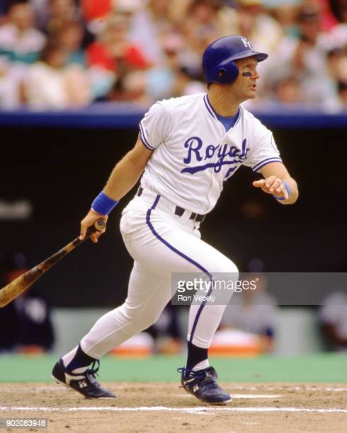 George Brett of the Kansas City Royals bats during an MLB game at Kaufmann Stadium in Kansas City Missouri during the 1990 season