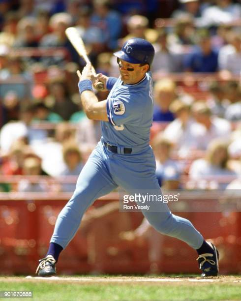 George Brett of the Kansas City Royals bats during an MLB game against the Milwaukee Brewers at County Stadium in Milwaukee Wisconsin during the 1988...