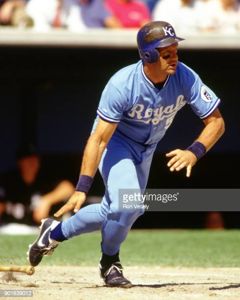 George Brett of the Kansas City Royals bats during an MLB game versus the Chicago White Sox at Comiskey Park in Chicago Illinois during the 1991...