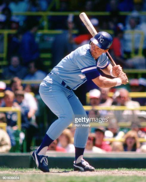 George Brett of the Kansas City Royals bats during an MLB game versus the Chicago White Sox at Comiskey Park in Chicago Illinois during the 1986...