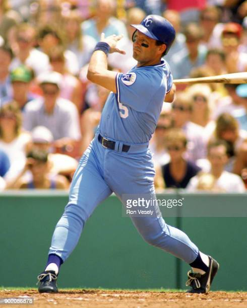 George Brett of the Kansas City Royals bats during an MLB game versus the Boston Red Sox at Fenway Park in Boston Massachusetts during the 1988 season