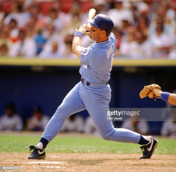 George Brett of the Kansas City Royals bats during an MLB game versus the Cleveland Indians at Municipal Stadium in Cleveland Ohio during the 1989...