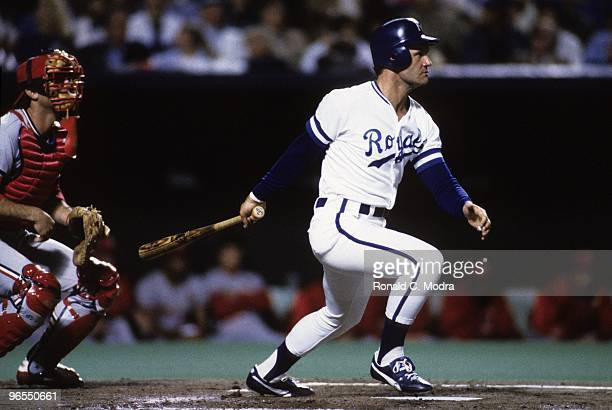 George Brett of the Kansas City Royals bats during Game 7 of the1985 World Series against the St Louis Cardinals at Royals Stadium on October 27 1985...