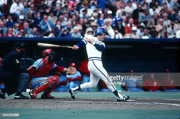 George Brett of the Kansas City Royals bats during World Series game four between the Kansas City Royals and Philadelphia Phillies on October 18 1980...
